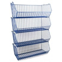 Plastic Coated Wire Storage Basket 90kg Capacity with Data Strips