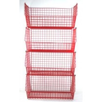 Plastic Coated Wire Storage Basket 120kg Capacity with Data Strips