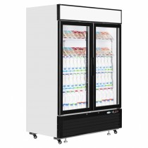 Interlevin LGC5000 White Glass Double Door Chiller