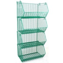 Plastic Coated Wire Storage Basket 60kg Capacity with Data Strips